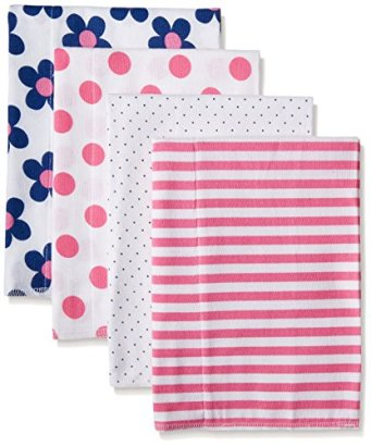 Gerber-Baby-Girls-4-Pack-Flannel-Burp-Cloths-Flower-One-Size