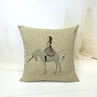 Amazon.com: Girl Riding a Unicorn Style Cotton Linen Throw ...