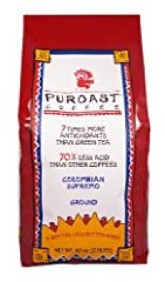 Puroast Low Acid Coffee Colombian Supremo Blend Drip Grind, 2.5-Pound Bag