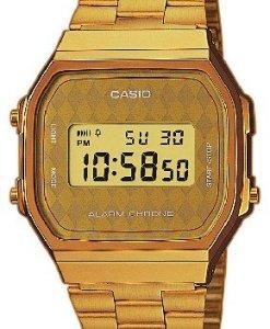 CASIO Collection A168WG-9BWEF - Reloj de caballero de cuarzo, correa de acero inoxidable color oro (con alarma, cronómetro, luz)