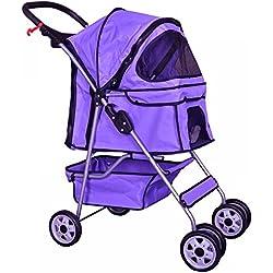 Purple 4 Wheels Pet Stroller Cat Dog Cage Stroller Travel Folding Carrier 04T by BestPet