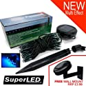 SuperLED Solar 60 Blue LED Light String NEW MULTI EFFECT + FREE  FENCE/WALL MOUNT + STAKE
