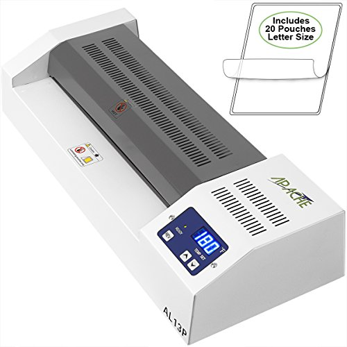 "Apache AL13P Professional Hot/Cold 13"" A3 4 Thermal Laminator for Documents and Photos. Includes a 20 Pack of Standard 5 and 3 mil Laminator Pouches"