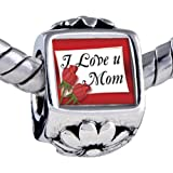 Pugster Silver Plated Photo Bead Mothers Day Theme Photo Flower European Charm Bead I Love Mom Fits Pandora Bracelet