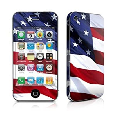 Patriotic American Flag iPhone 4/4s vinyl decal sticker w/ matching downloadable wallpaper, from amazon
