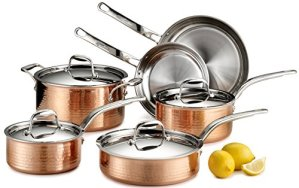 Lagostina-Q554SA64-Martellata-Tri-ply-Hammered-Stainless-Steel-Copper-Oven-Safe-Cookware-Set-10-Piece-Copper