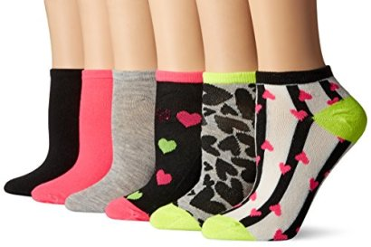 Betsey-Johnson-Womens-Low-Cut-Embellished-Sequin-Heart-Socks-6-Pack