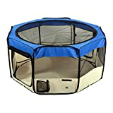 "Jespet 61"" Blue Playpen Dog Puppy Animal Exercise Pen Kennel 30"" Height Portable Soft Sided Cat Dog Tent Fence Cage with Carry Bag"