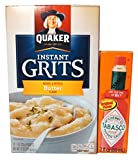 Complete Southern Man's Survival Kit. Bundle Includes Two Items: Quaker Butter Flavor Grits (12-1oz Packets) and Tabasco Sauce (2oz)