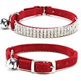 Adjustable Velvet Pet Puppy Dog Cat Collar Bling Crystal Diamante Rhinestone with Bell Red