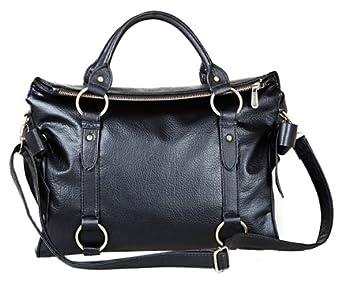Black Fashionable Designer Inspired Double Bow Knot Soft Pebbled Leatherette Satchel Hobo Handbag Purse w/Shoulder Strap