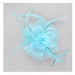 Women Flower Headwear Wedding Party Hair Clip Fascinator Headpiece (Light Blue)