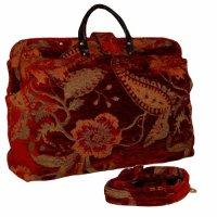 Red Floral Tapestry Carpet Bag with Shoulder Strap ...