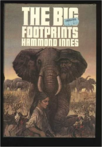 Hardback cover of The Big Footprints showing Mary van Delden in front of a big elephant, with the image of her father superimposed on the elephant's ear