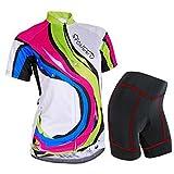Sponeed Women's Cycle Jersey Bike Clothing Gel Padded Racing Short Sleeve Size S US Multi