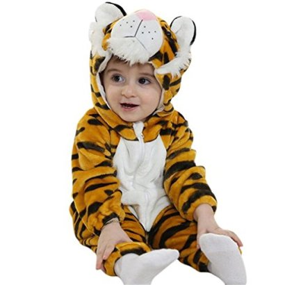 IDGIRL-baby-outfit-girls-and-boys-Flannel-Cotton-rompers-Tiger-100CM