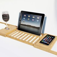 Bamboo Bathtub Caddy Tray Tablet Smartphone Cup Book ...