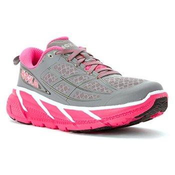 Hoka One One Clifton 2 Running Shoe - Womens Grey/Neon Pink, 6.5