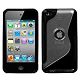 Gummy Cover S Shape Case for Apple iPod Touch 4G - Transparent Clear/Solid Black