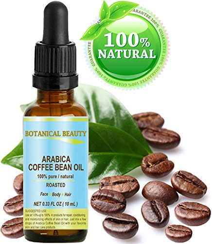 ARABICA COFFEE BEAN OIL Brazilian. 0.33 Fl.oz- 10 ml. 100% Pure / Roasted / Premium Quality for Skin, Hair, Lip and Nail Care