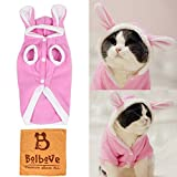 Bro'Bear Plush Rabbit Outfit with Hood & Bunny Ears for Small Dogs & Cats Pink (Large)