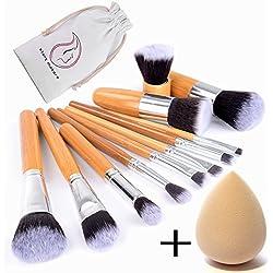 Start Makers 12-teiliges Makeup Pinsel Set Make Up Kabuki Pinselset Foundation Flüssige Dichte, Synthetische Borsten Premium Pinselhaare Profi & Anfänger Komestik mit Tasche & Schwamm Make-up