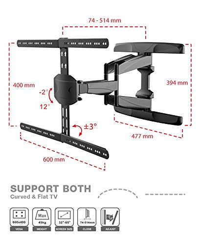 "Premium Full Motion LED Tilt & Swivel TV Wall Mount For 32"" To 65"" Curved TV VESA Size Up To 600x400mm Maximum Weight Capacity 45 KG/100lbs"