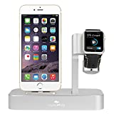 Apple Watch Stand, iPhone 6s Stand, iVAPO [2 in 1 Charging Dock] Apple Watch Charging Stand, Solid Aluminum Charger Dock Station for Apple Watch 38mm/ 42mm, iPhone 6s plus (2015) (MM610) (Silver)