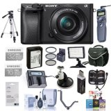 Sony-Alpha-a6300-Mirrorless-Digital-Camera-with-16-50mm-E-Mount-Lens-Bundle-With-Camera-Bag-1632GB-U3-SDHC-Cards-Spare-Battery-Video-Light-405mm-Filter-Kit-Tripod-Software-Package-And-More