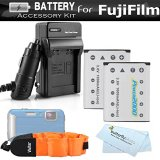 2-Pack-Battery-And-Charger-Kit-For-Fujifilm-FinePix-XP60-XP70-XP80-XP90-Waterproof-Digital-Camera-Includes-2-Replacement-1000Mah-Fuji-NP-45A-NP-45s-Batteries-AcDc-Charger-Float-Strap-More