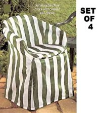 Amazon.com : Outdoor Chair Covers with Pads (Green Stripe ...