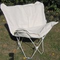 Padded butterfly chair natural cover white frame folding chairs