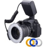 Macro-LED-Ring-Flash-Light-Includes-4-Diffusers-Clear-Warming-Blue-White-For-The-Nikon-D3000-D3100-D3200-D3300-D5000-D5100-D5200-D5300-D7000-D7100-D3-D4-D40-D40x-D50-D60-D70-D70s-D80-D90-D100-D200-D30