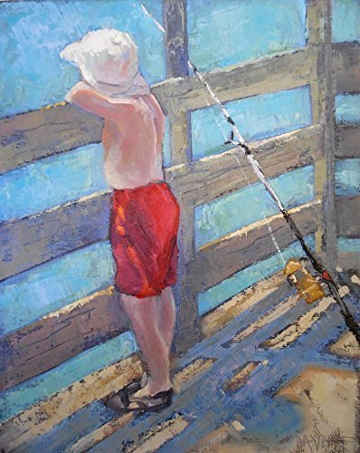 "00AK 8x10"" Figurative Oil Painting of Small Boy Fishing pier red blue ocean sea by Carol Schiff Fine Art"