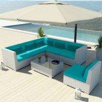 Uduka Outdoor Sectional Patio Furniture White Wicker Sofa ...