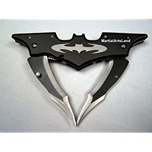 Black Batman Batarang Shape Dark Knight Dbl Edge Sharp Folding Knife