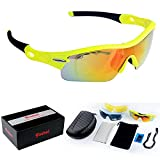POSHEI P03 Polarized UV Protection Sports Glasses for Men or Women , Cycling Wrap Sunglasses with 5 Interchangeable Lenses Unbreakable , for Riding Driving Fishing Running Golf and Outdoor Activities (Yellow&Black)
