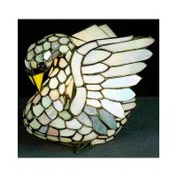 Swan Tiffany Style Stained Glass Accent Lamp Estate Bird ...