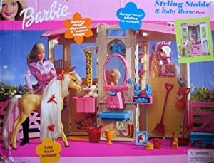 barbie gourmet kitchen lowes tiles amazon.com: styling stable & baby horse playset ...