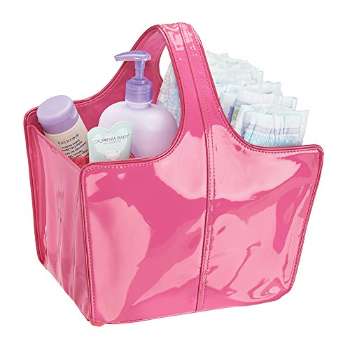 mDesign Baby Nursery Tote Bag for Diapers, Wipes, Powder - Vegan Patent Leather, Medium, Fuchsia/Pink