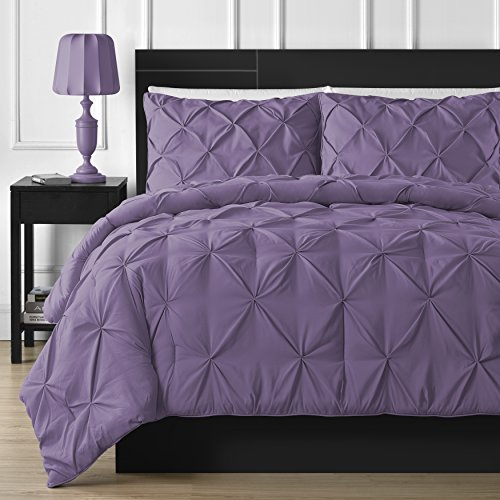 Purple Comfy Pinch Pleat Comforter Set