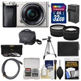 Sony-Alpha-A6000-Wi-Fi-Digital-Camera-16-50mm-Lens-Silver-with-32GB-Card-Case-BatteryCharger-Tripod-TeleWide-Lens-Kit