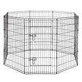 SmithBuilt Premium 8-Panel Black Dog Exercise Play Pen with Door and Carry Bag - 36 in. Tall
