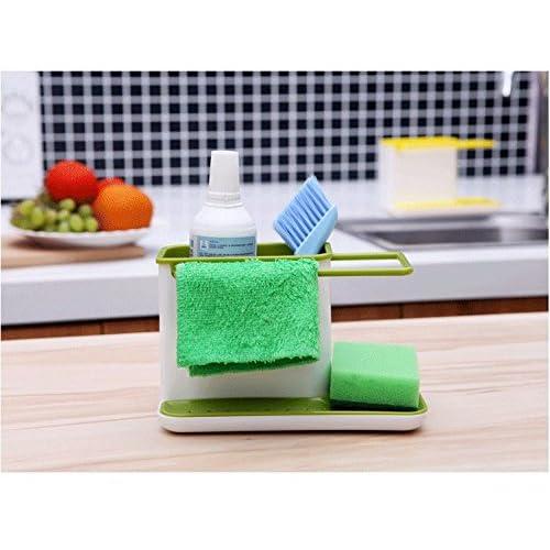 キッチン スポンジラック 台所お手入れ用品を一括収納 イエロー