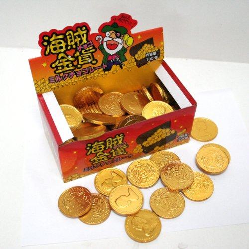 やおきん 海賊金貨チョコ (1ポット100個入り)