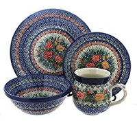 Amazon.com | Polish Pottery Crimson Roses 16-Piece Dinner ...
