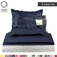 Bed-In-A-Bag 9 Piece Complete Bed Sheet Set  Queen Navy ...