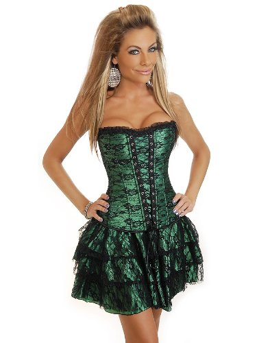 Sexy Corsagenkleid Corsage Kleid Mini Rock Partykleid Erotik Petticoat grün -1377G-