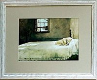 Amazon.com: Framed Andrew Wyeth Lab Dog On Bed Picture ...