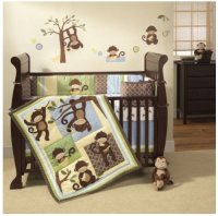 Best cheap Monkey Crib set - 4 Piece | Monkey crib bedding